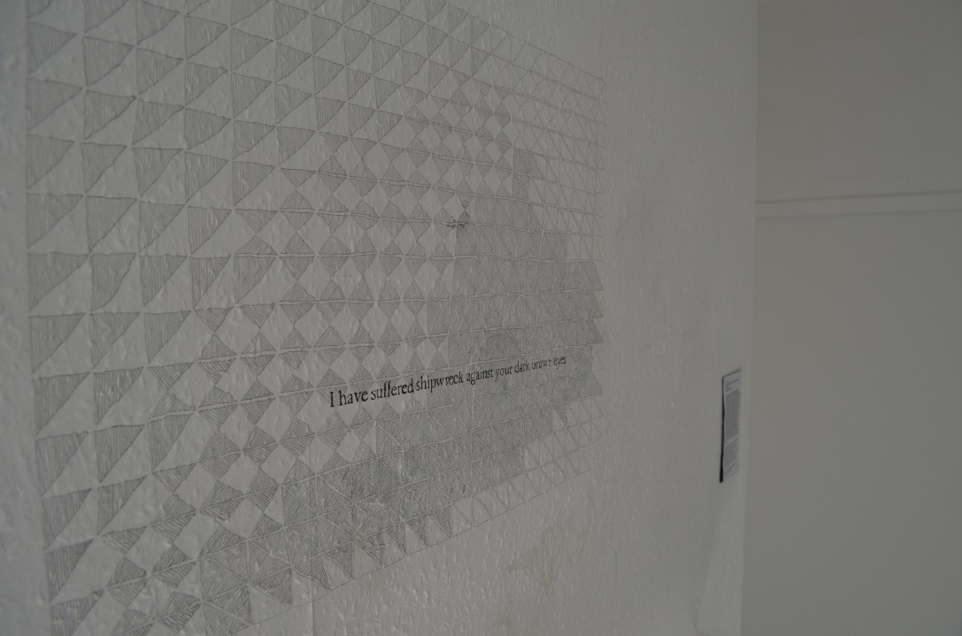 This Temporary Matter exhibition, Walcot Street, Bath. Installation view. Pencil drawing on wall. June 2018.