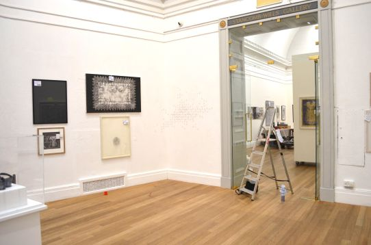 DRAWN II at RWA, Bristol, March 2013. The Whole Air Struggling in Soft Excitements. Pencil on wall. Installation view.